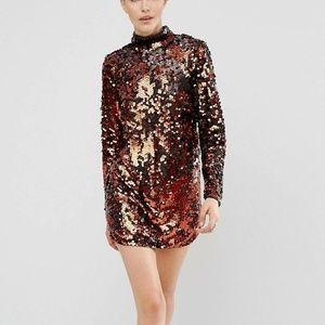 NWT Asos Mermaid Black/Copper Sequin Dress